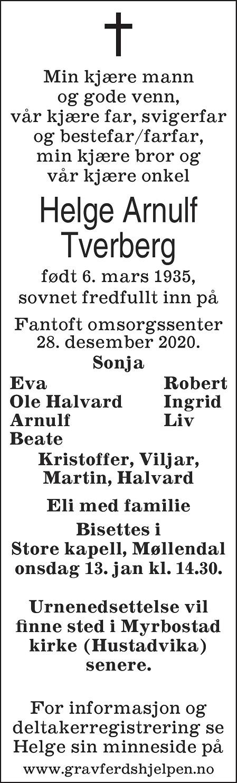 Helge Arnulf Tverberg Dødsannonse