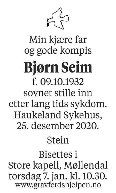 Bjørn Seim Dødsannonse
