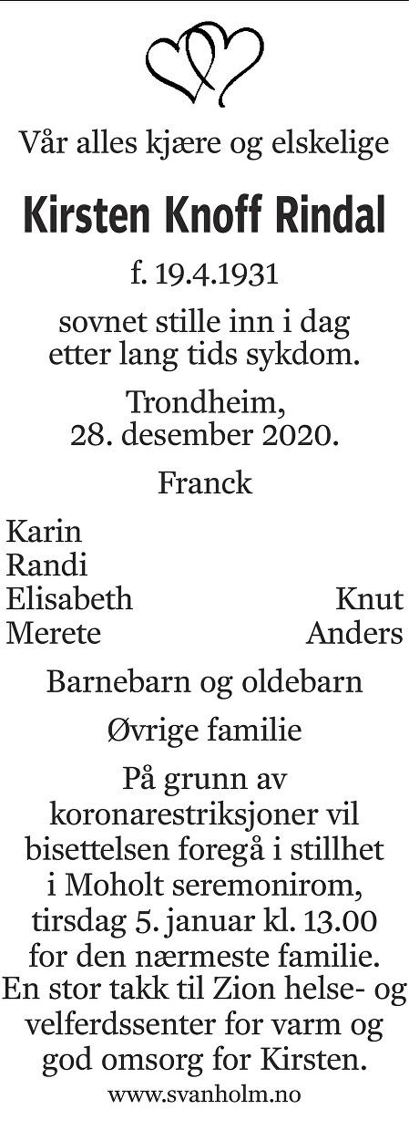 Kirsten Knoff Rindal Dødsannonse