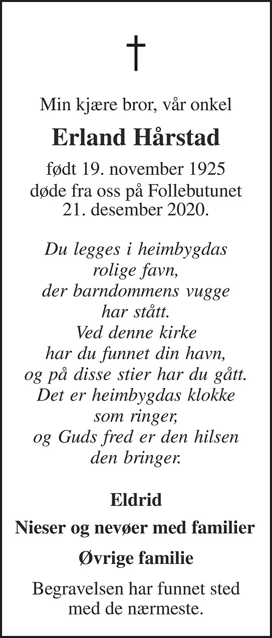 Erland Hårstad Dødsannonse