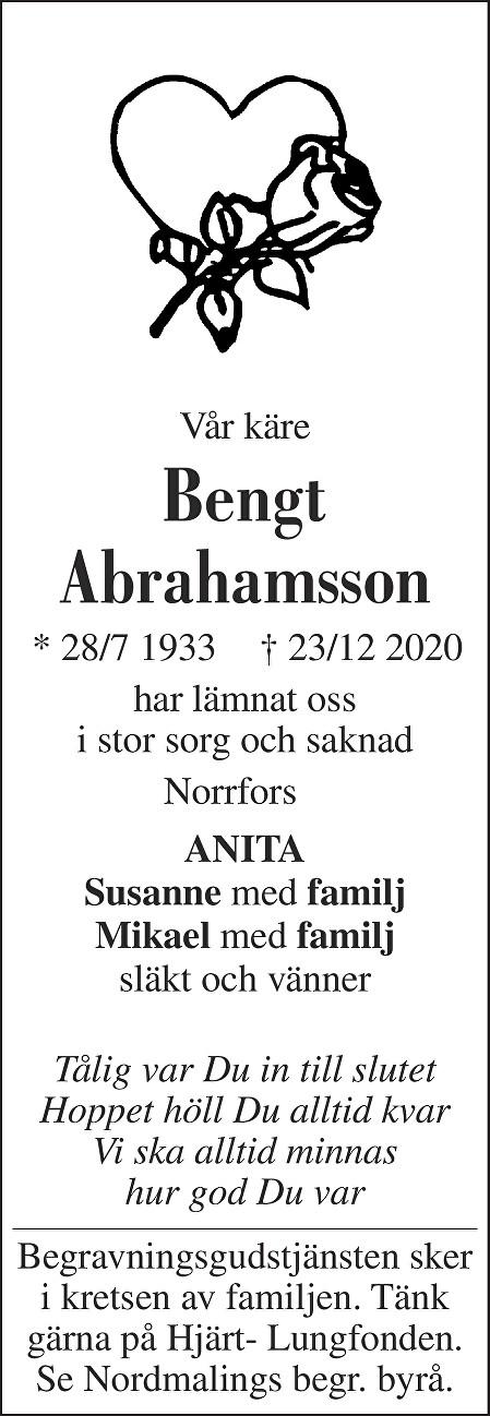 Bengt  Abrahamsson Death notice