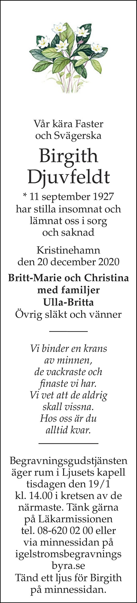 Birgith Djuvfeldt Death notice