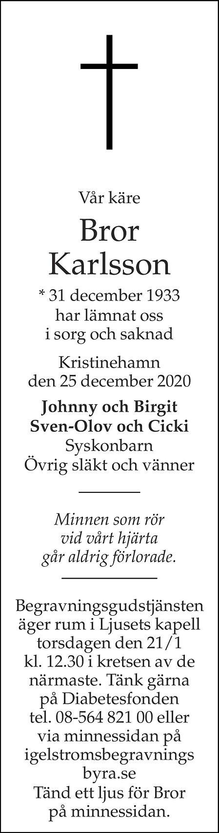 Bror Karlsson Death notice