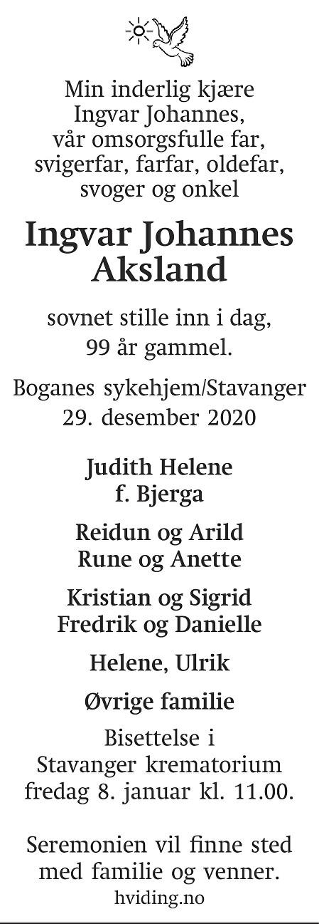 Ingvar Johannes Aksland Dødsannonse