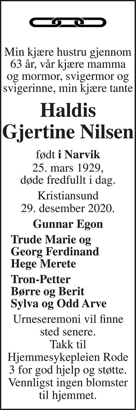 Haldis Gjertine Nilsen Dødsannonse