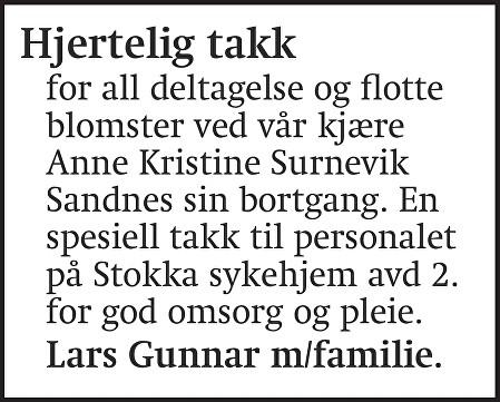 Anne Kristine Sandnes Dødsannonse