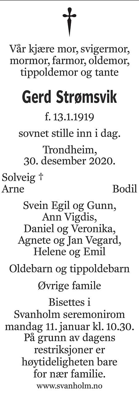 Gerd Strømsvik Dødsannonse
