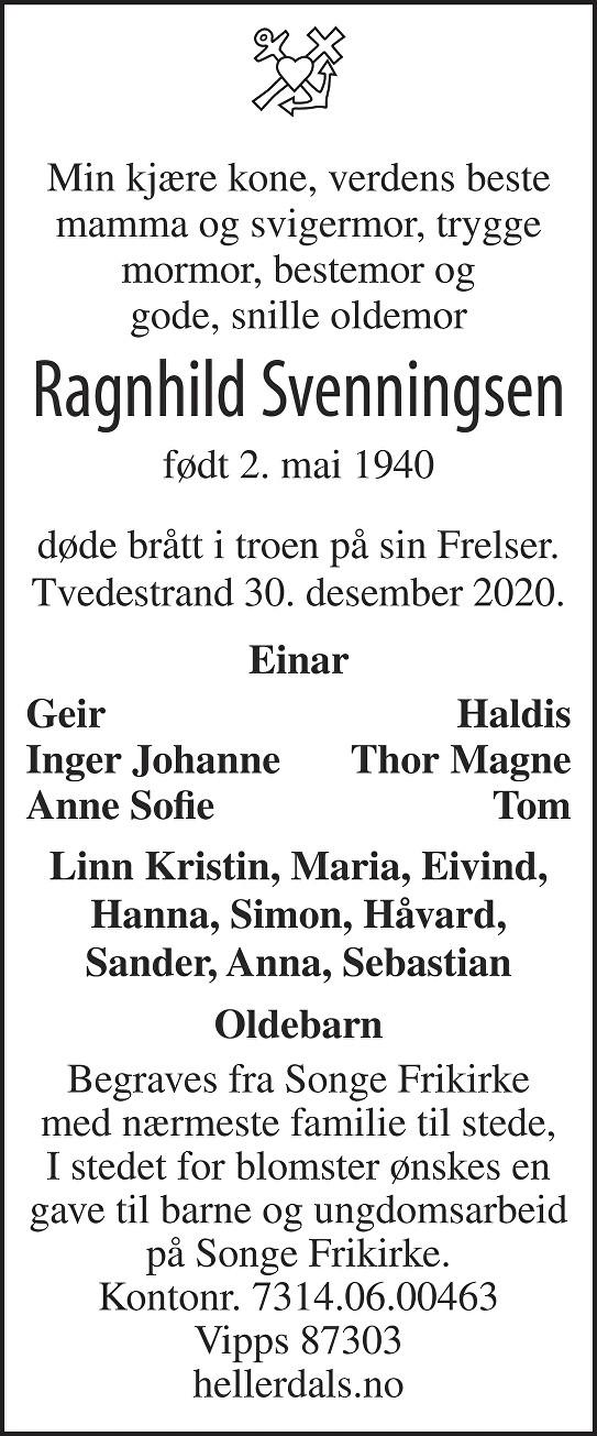 Ragnhild Svenningsen Dødsannonse