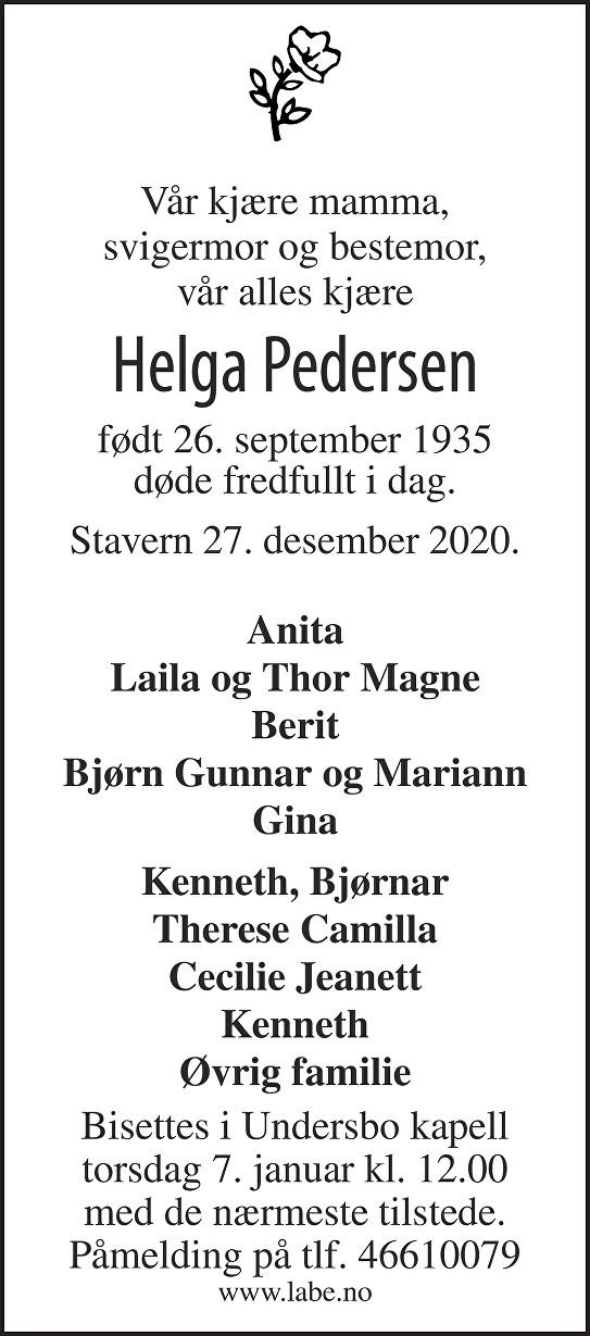 Helga Pedersen Dødsannonse