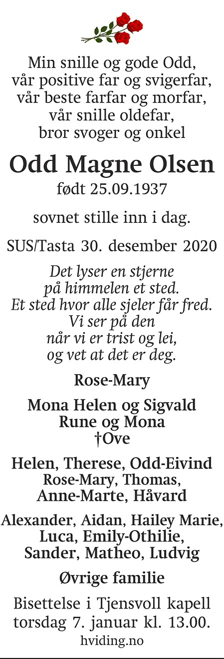 Odd Magne  Olsen Dødsannonse