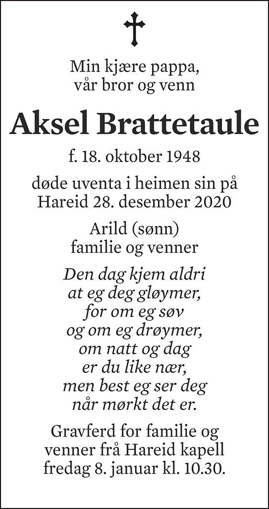 Aksel Brattetaule Dødsannonse