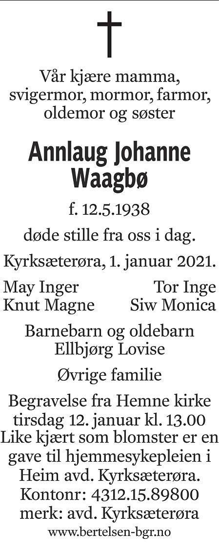 Annlaug Johanne Waagbø Dødsannonse