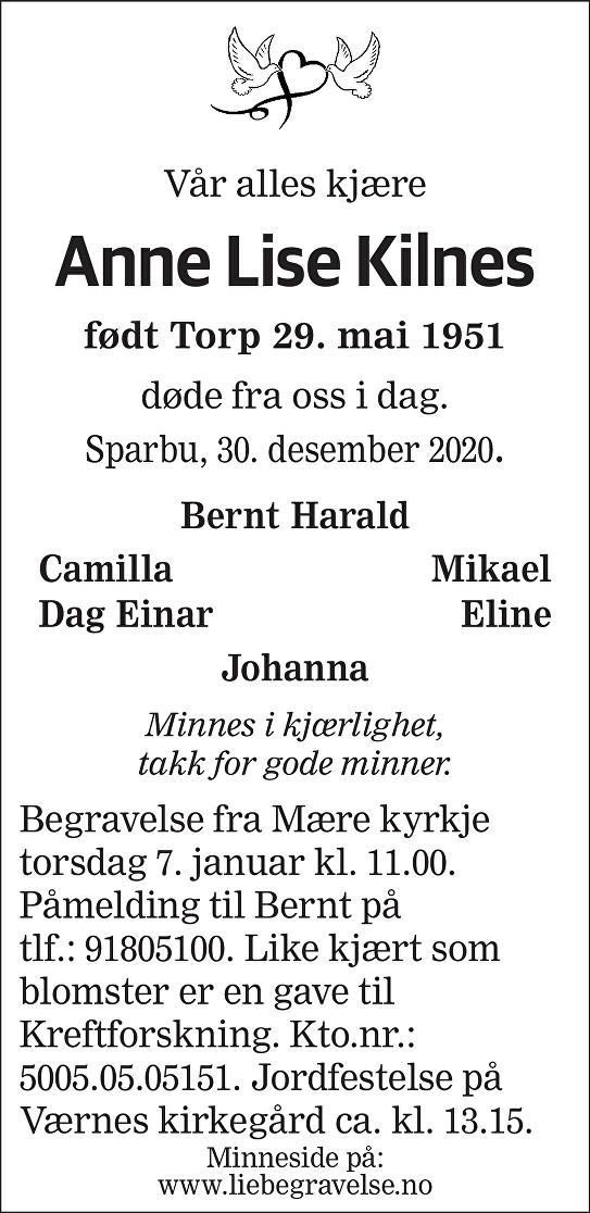 Anne Lise Kilnes Dødsannonse