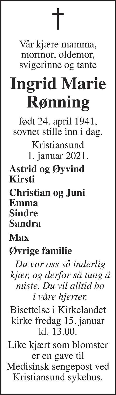 Ingrid Marie Rønning Dødsannonse