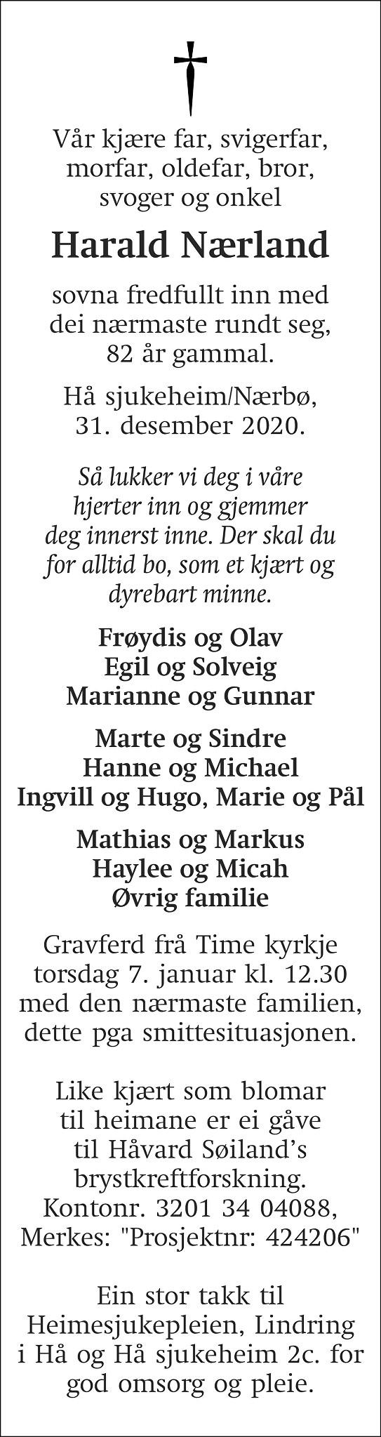 Harald Nærland Dødsannonse
