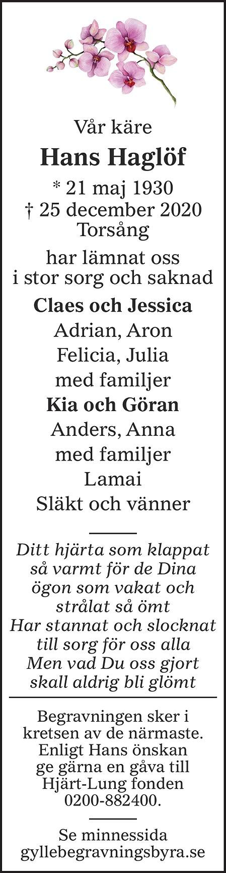 Hans Haglöf Death notice