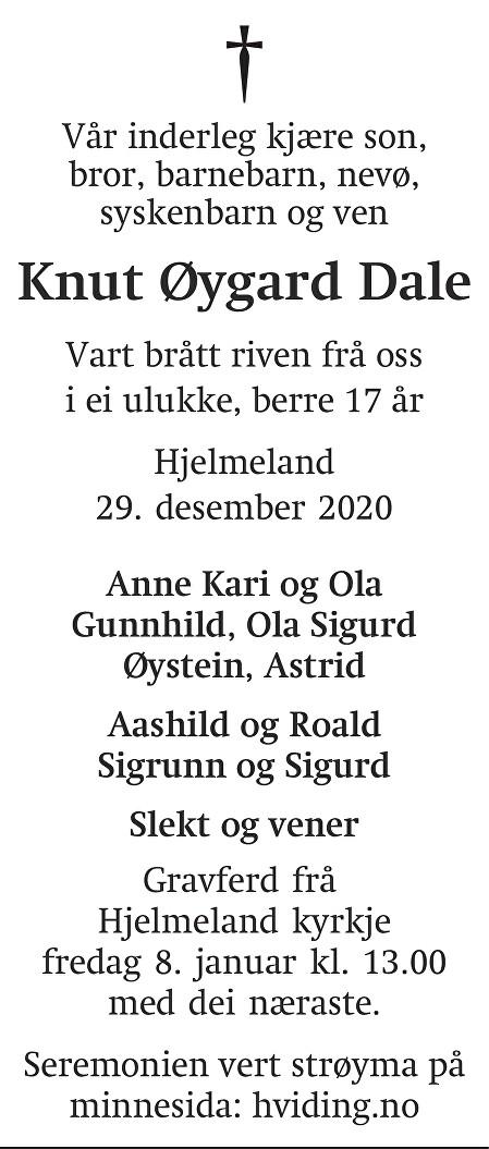 Knut Øygard Dale Dødsannonse