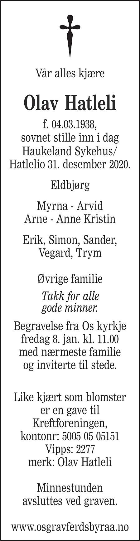 Olav Hatleli Dødsannonse
