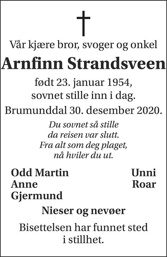 Arnfinn Strandsveen Dødsannonse