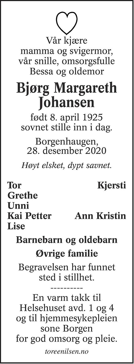 Bjørg Margareth Johansen Dødsannonse
