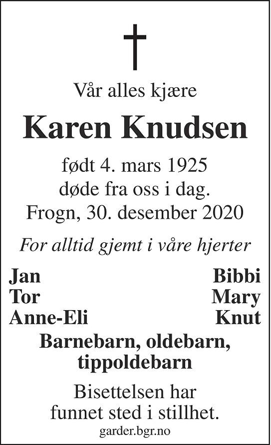 Karen Knudsen Dødsannonse