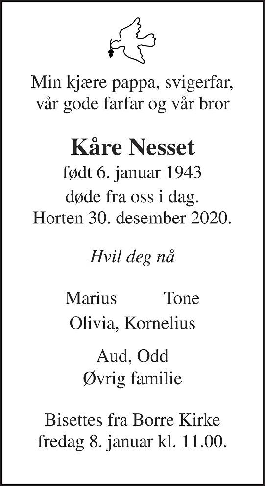 Kåre Nesset Dødsannonse