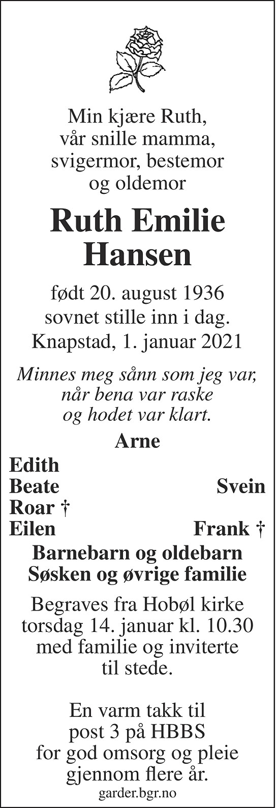 Ruth Emilie Hansen Dødsannonse