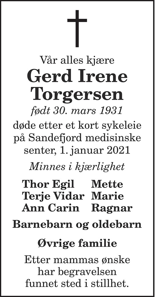 Gerd Irene Torgersen Dødsannonse