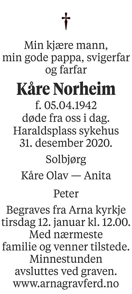 Kåre Norheim Dødsannonse