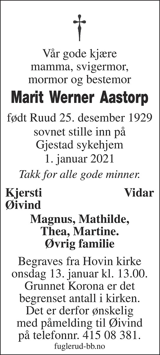 Marit Werner Aastorp Dødsannonse