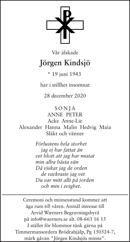 Jörgen Tore Kindsjö Death notice