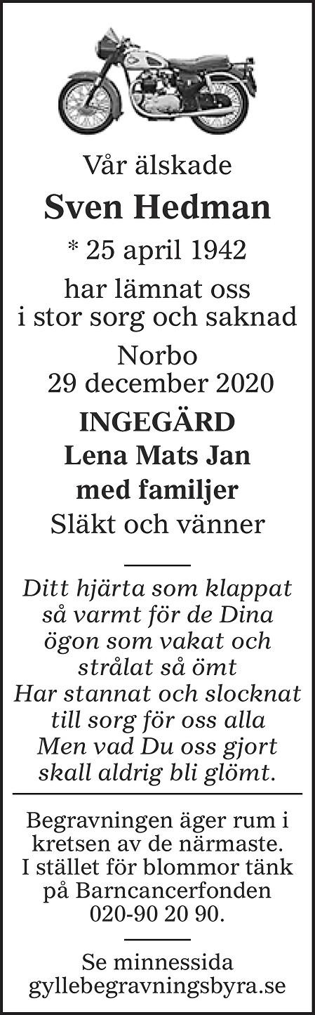 Sven Hedman Death notice