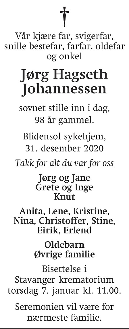 Jørg Hagseth  Johannessen Dødsannonse