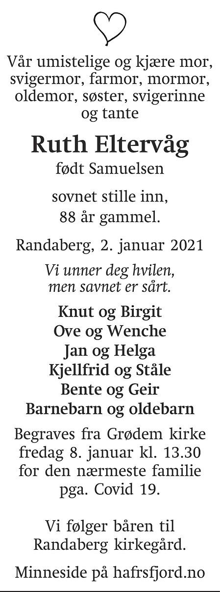 Ruth Dagmar Eltervåg Dødsannonse