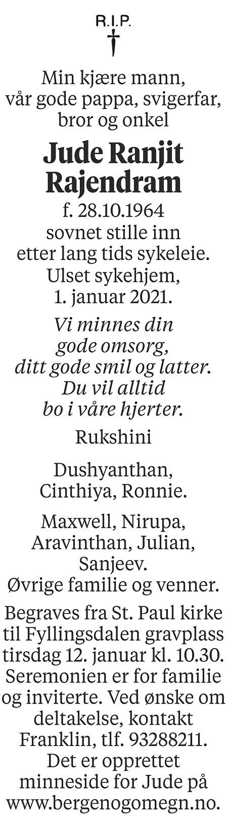 Jude Ranjit Rajendram Dødsannonse