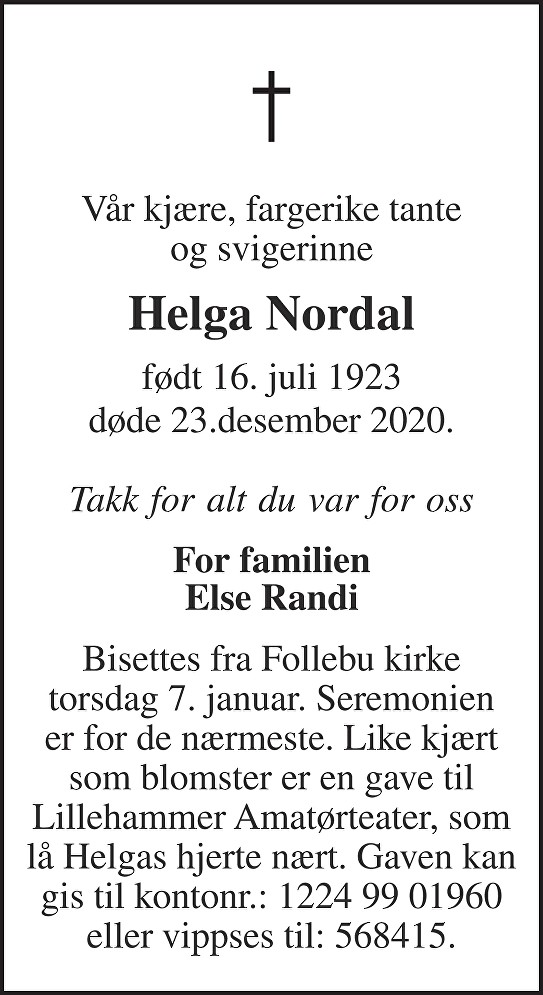 Helga Nordal Dødsannonse