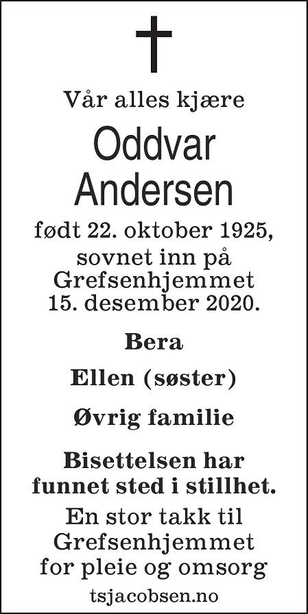 Oddvar Andersen Dødsannonse