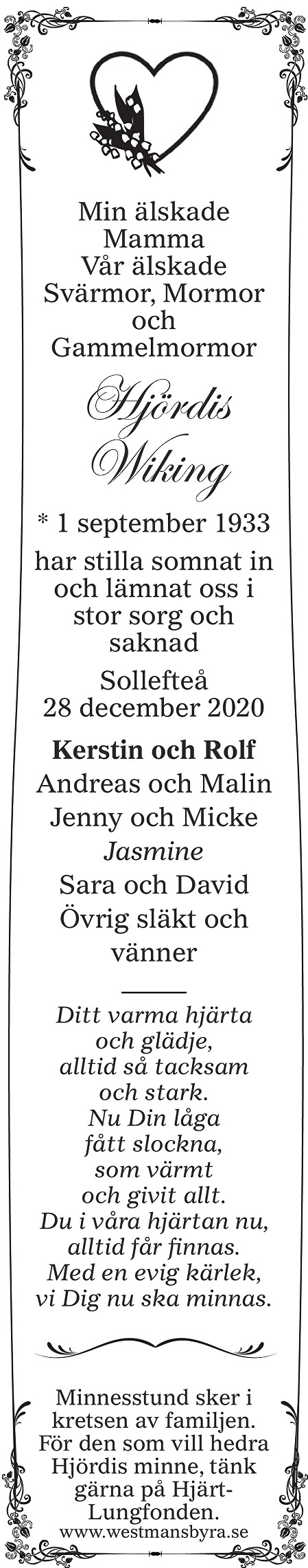 Hjördis Wiking Death notice