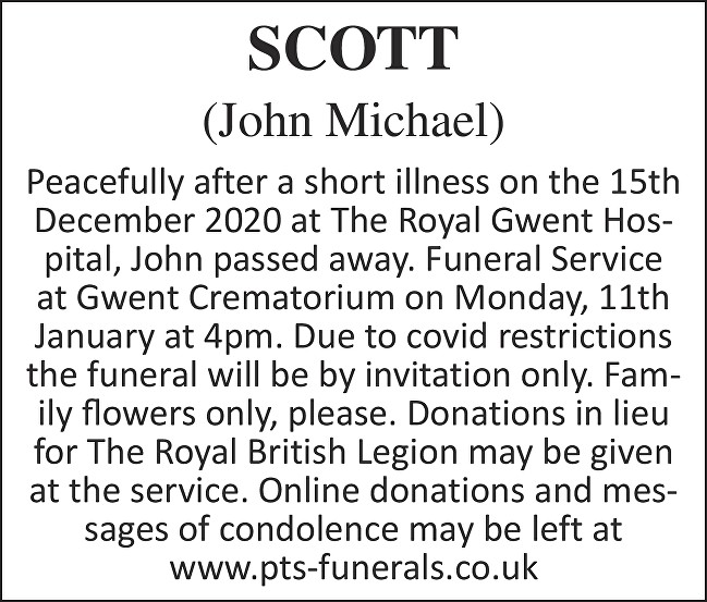 John Michael Scott Death notice