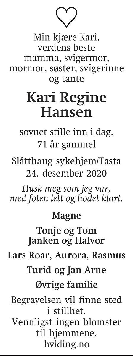 Kari Regine Hansen Dødsannonse