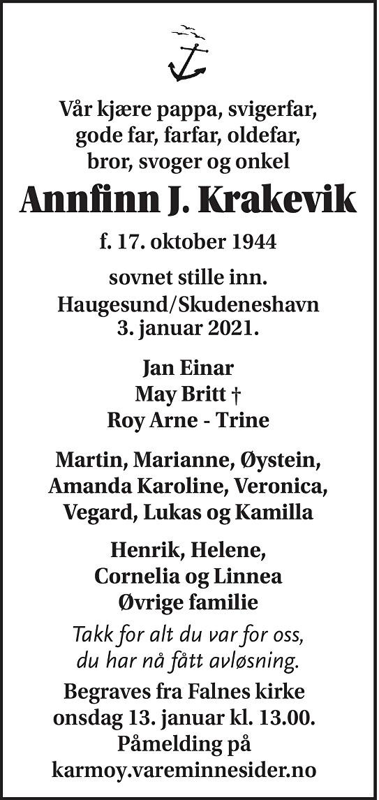 Annfinn J. Krakevik Dødsannonse
