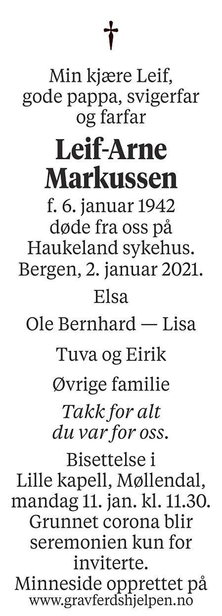 Leif-Arne Markussen Dødsannonse