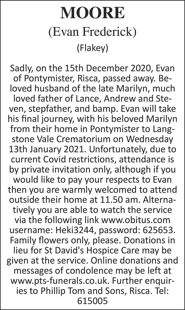 Evan Frederick Moore Death notice