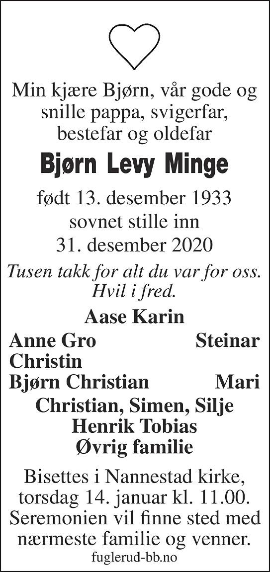 Bjørn Levy Minge Dødsannonse
