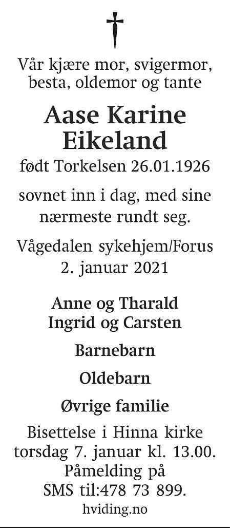 Aase Karine Eikeland Dødsannonse