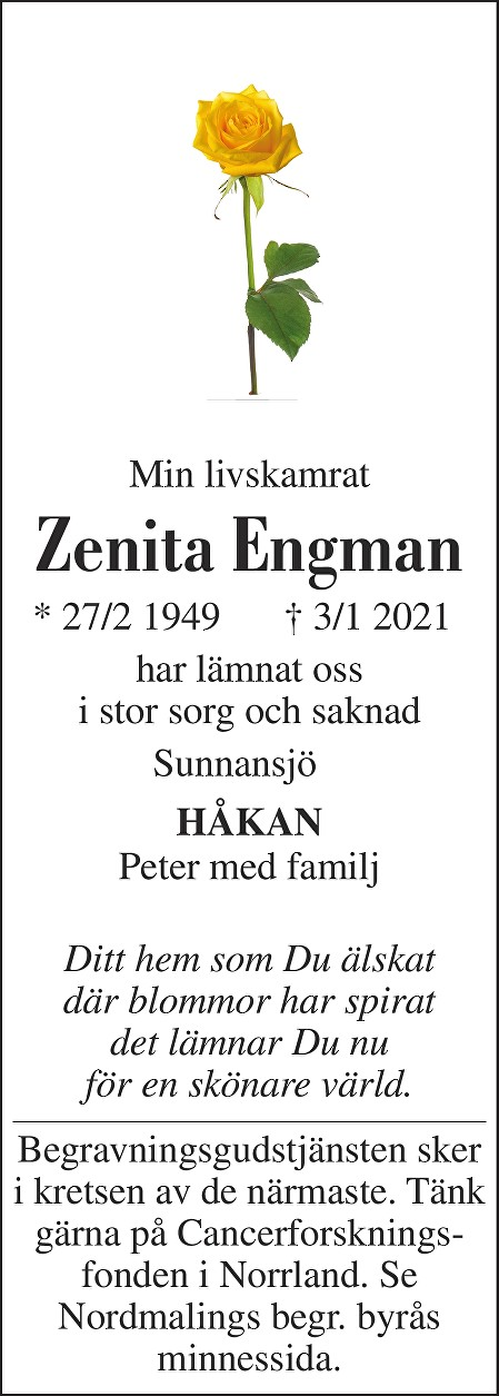Zenita Engman Death notice
