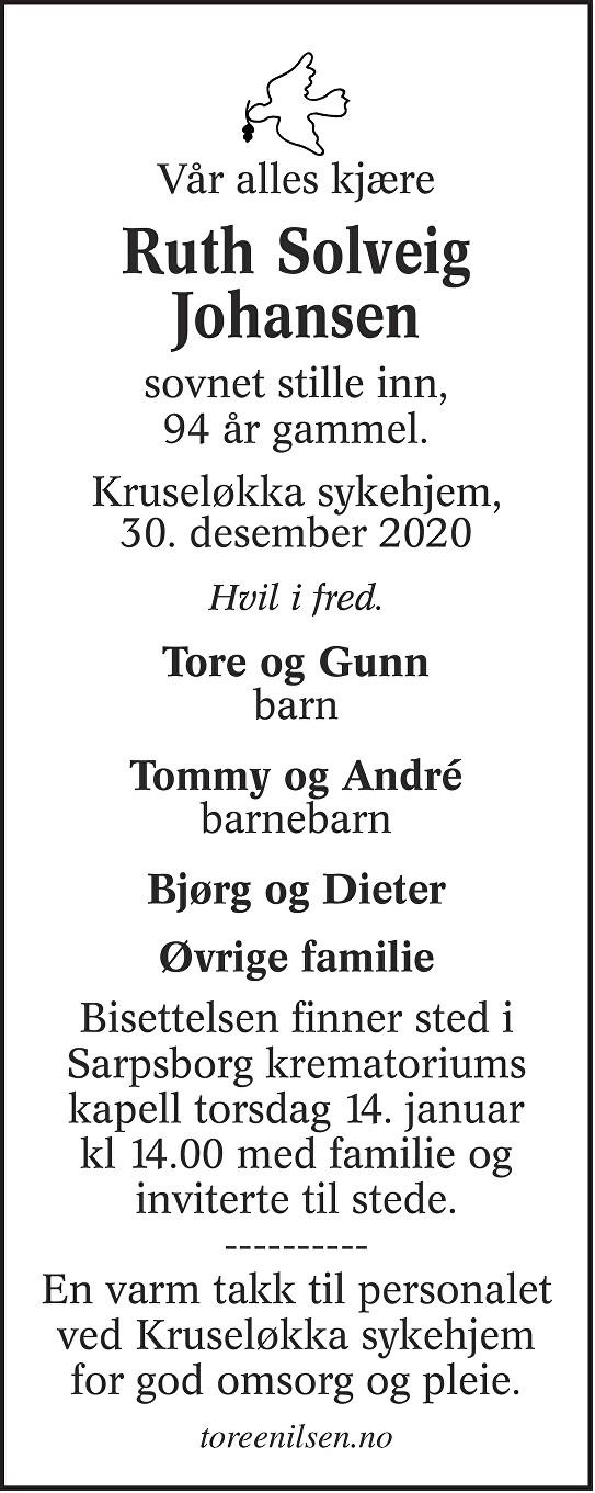 Ruth Solveig Johansen Dødsannonse