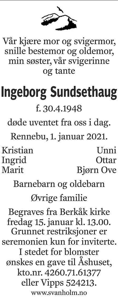 Ingeborg Sundsethaug Dødsannonse