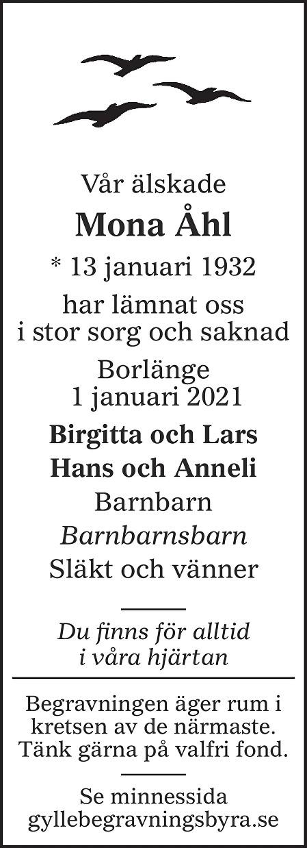 Mona Åhl Death notice