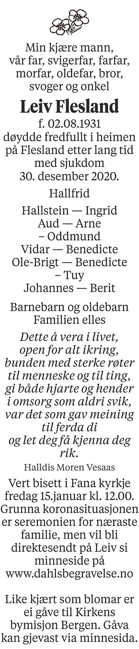Leiv Flesland Dødsannonse